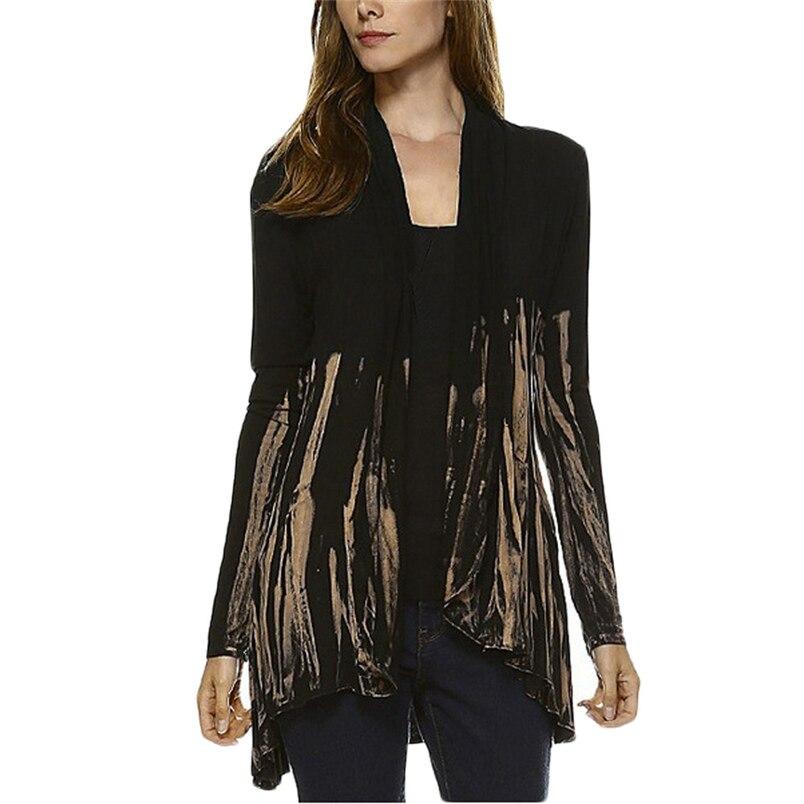 Women Fashion Tie-Dye Hi-Low Open Cardigan Long Sleeve Asymmetric Top Blouse 2018 Hot Sale Vintage Blouse Wholesale #K24