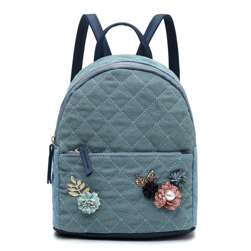 Floral Backpack Women Bag For Teenage Girls Fashion Thread Female Rucksack Small Denim Fabric Plaid Travel Backpacks Bags Bolsa