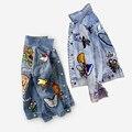 Вышитые джинсовый жакет куртка женщин осень/зима мода Основные Пальто Куртки Тигр Цветочные животных vintage женщины clothing