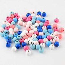100 sztuk 10mm okrągłe drewniane koraliki mieszane kolor drewna luźne koraliki do tworzenia biżuterii naszyjnik DIY akcesoria do bransoletki perle en bois
