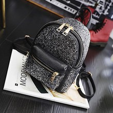 AEQUEEN Silver Sequin Backpack Women Shoulder Bag Mini Rucksack Bright Leather Preppy Daypacks Small Back Pack For Teenage Girls