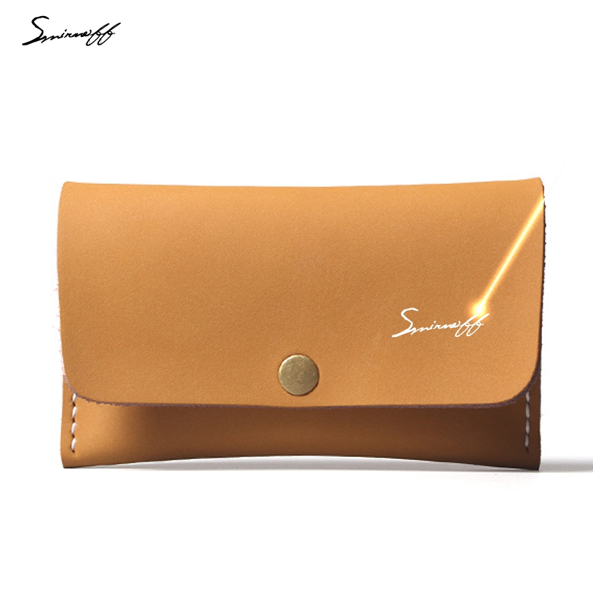 SMIRNOFF Retro Leather Card Wallet Female Crazy Horse Leather Short Coin Wallet Card Holder Custom Name Small Purse For Girls smirnoff slim genuine leather wallet case hand made custom name hasp simple style mens wallet super thin card purse mini wallet