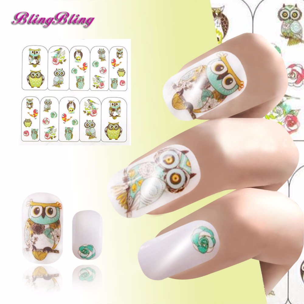 2 sheet Owl Nail Sticker Decal Cartoon Nails Wraps Water Decals Transfer Stickers Manicure Decor 2016 cartoon design nail art manicure tips water transfer nail stickers paradise vacation desgins nails wraps collections decor