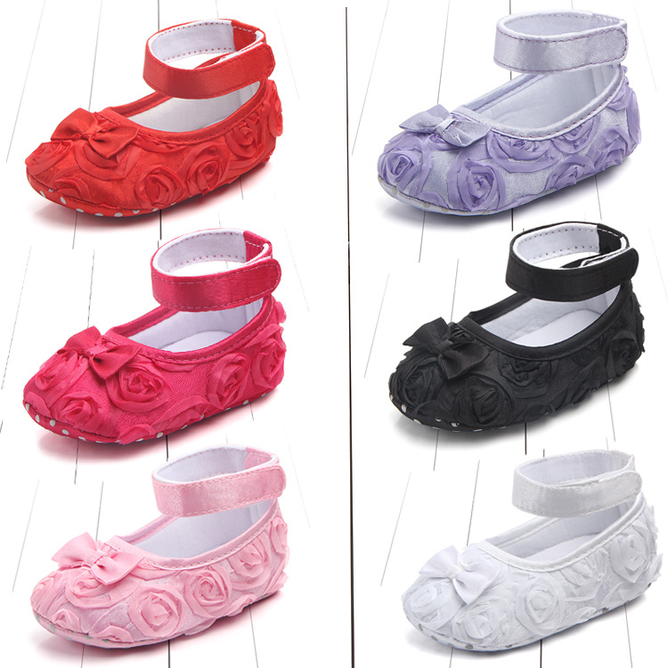 Koovan Baby Shoes Rome Flower Shoes For Baby Girls Source Wholesale Pure Color Rose Baby Toddler Shoe Princess Firstwalker