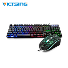 VicTsing XR992 Gaming Keyboard And Mouse Set Rainbow Backlight USB Ergonomic For PC Laptop Gamer Games Mouses And Keyboards Kit цена и фото