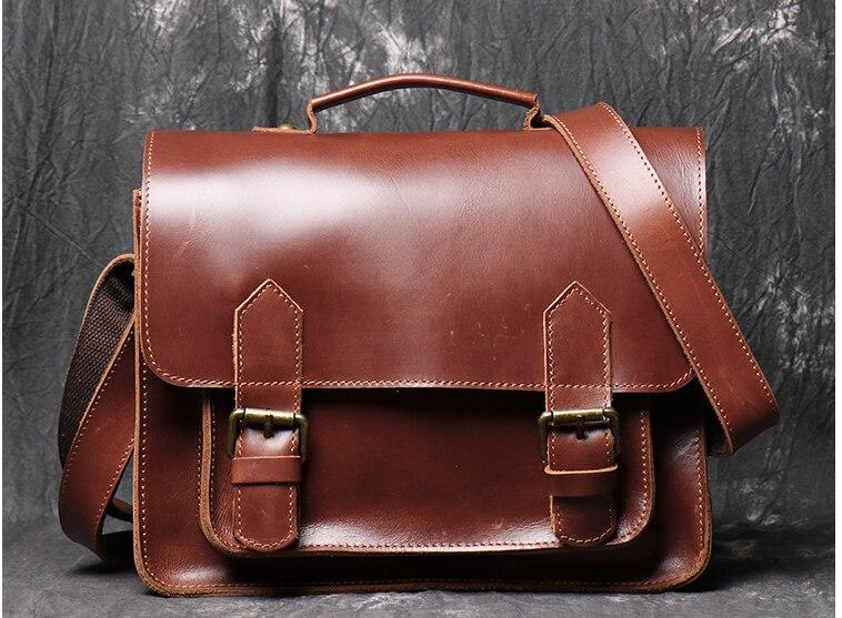 Crazy Horse Men Genuine Leather Briefcases Cross Body Shoulder High Capacity Business Bag Fashion Handbags Students Satchel D839