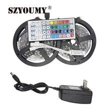 SZYOUMY RGB светодиодный светильник 5050 5 м 10 м IP20 светодиодный светильник RGB светодиодный s лента светодиодный гибкий Мини ИК контроллер DC12V адаптер