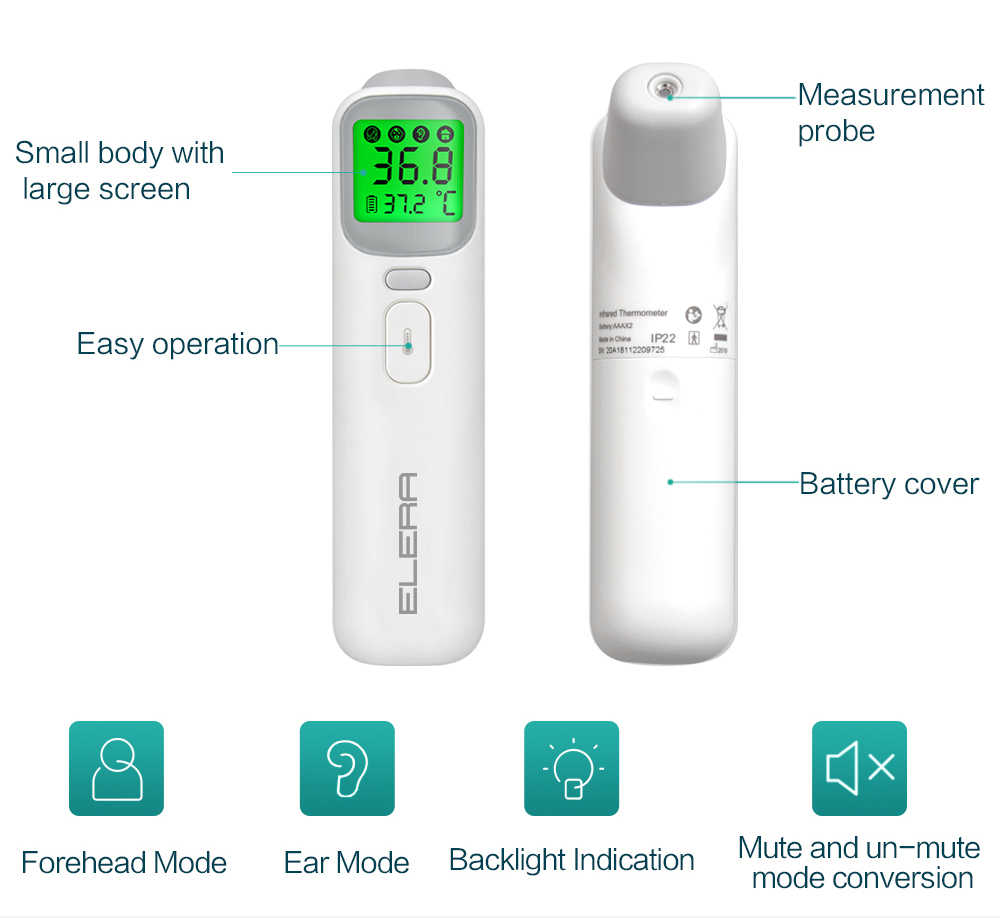 ELERA Детский Электронный термометр лоб ухо бесконтактный тела Termometro инфракрасный ЖК-дисплей для взрослых высокая температура тела ИК Детский термометр