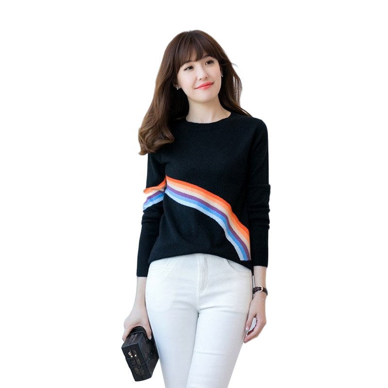 2018 WOMEN Trendy Extra Fine 100% Cashmere O Neck Color Striped Pullover Knitted Knit Tops Sweaters Female Jumper #06-in Pullovers from Women's Clothing    1