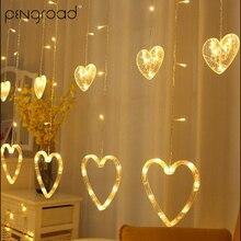 2,5 м гирлянда светодиодный сосулька гирлянда занавески Висячие сердца сказочные огни капли бусины светодиодный праздник домашнее украшение сцены огни PD067
