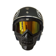 Motorcycle Skull Goggles Mask Motocross goggles with Detachable modular mask Vintage open face helmet