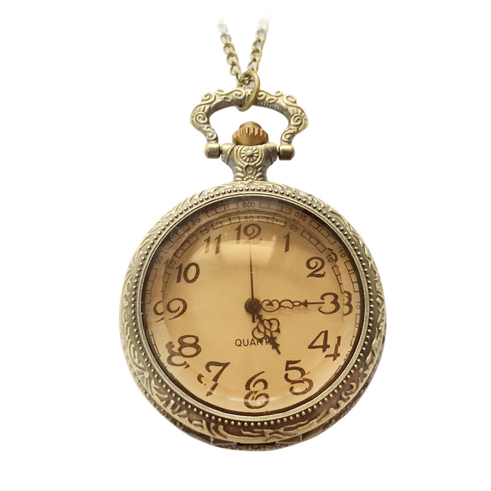 New Fashion Vintage Antique Glass Dark Brown Quartz Pocket Watch For Women Men Jewelry Gift High Quality LL