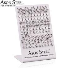 ASONSTEEL vente en gros 60 paires/lot boucles doreilles de forme différente pour les femmes/fille en acier inoxydable couleur argent bijoux de mode cadeau