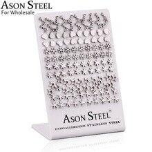 Asonsteel 卸売 60 ペア/ロット異なる女性/ガールステンレススチールシルバーファッションジュエリーギフト