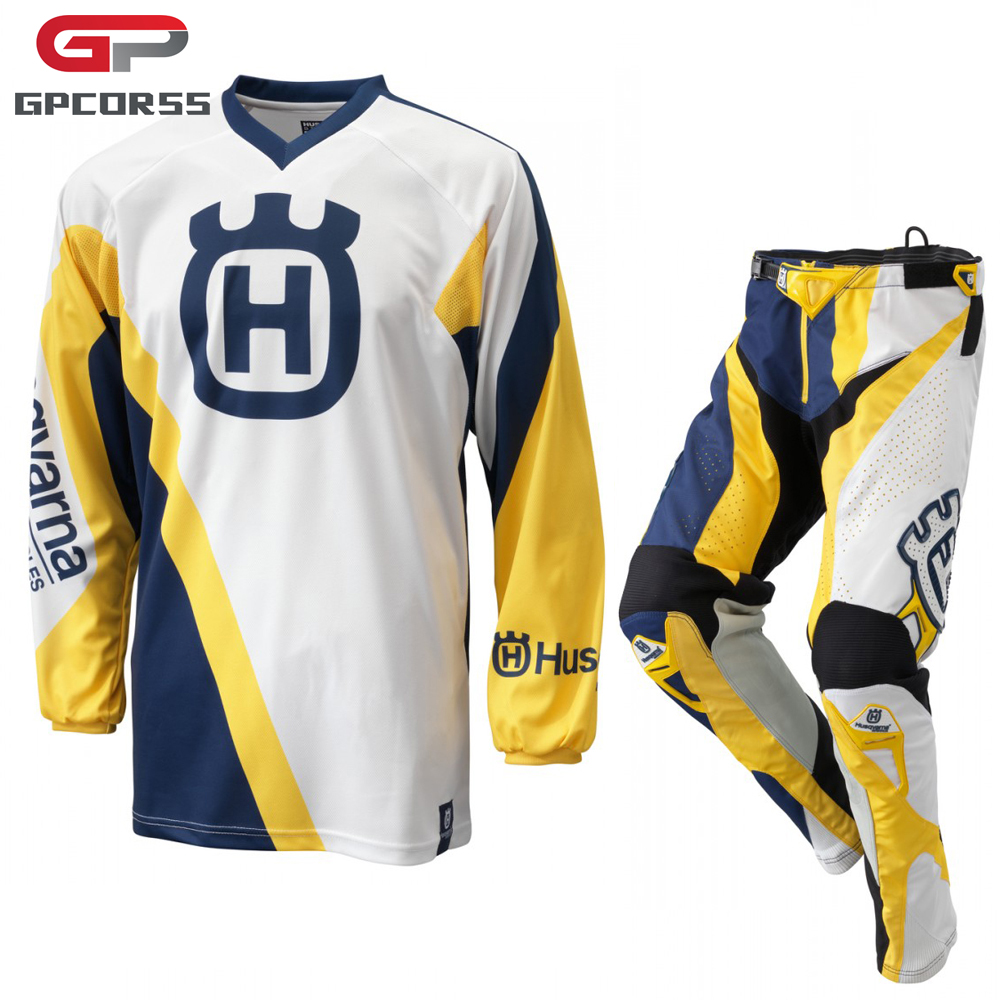 Prix pour Husqvarna Husky Style Motocross Costume Racing Jersey + Pantalon Motobiker Manches Longues Racing Chemise Moto MX Vêtements