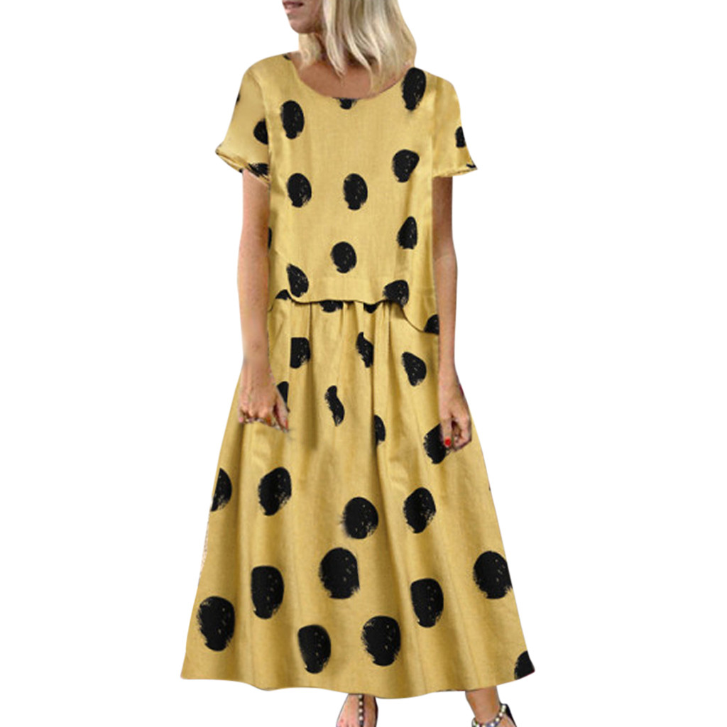 Dresses for Women Dot Print Maxi Dress Short Sleeve Plus Size Cocktail Party Long Swing Sundress