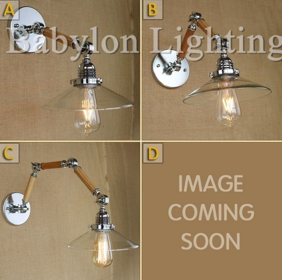 Loft Style Iron Wooden Glass Vintage Wall Lamp Bedside Wall Light Fixtures Dining Room RH Edison Wall Sconce Indoor Lighting