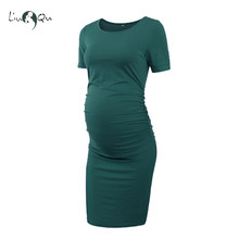 fcd00957d7ea9 Women's Side Ruched Maternity Clothes Striped Bodycon Dress Mama Summer  Casual Short Sleeve Wrap Dresses Pregnancy