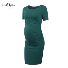 Womens Side Ruched Maternity Clothes Striped Bodycon Dress Mama Summer Casual Short Sleeve Wrap Dresses Pregnancy Clothes cheap Sheath Boat Neck knitting Cotton Lycra Cotton Natural Color Brief Broadcloth Knee-Length None Liu Qu