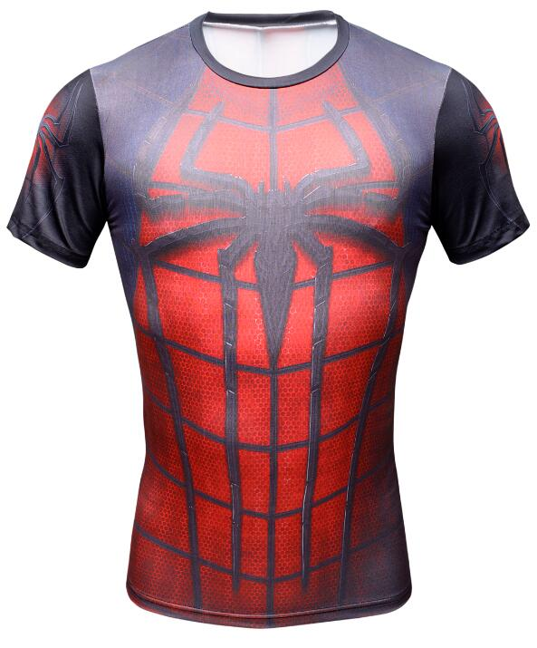 Spiderman 3D Impression t shirts Hommes De Compression fitness chemises super-heros Tops Marvel costume A Manches Courtes fitnes