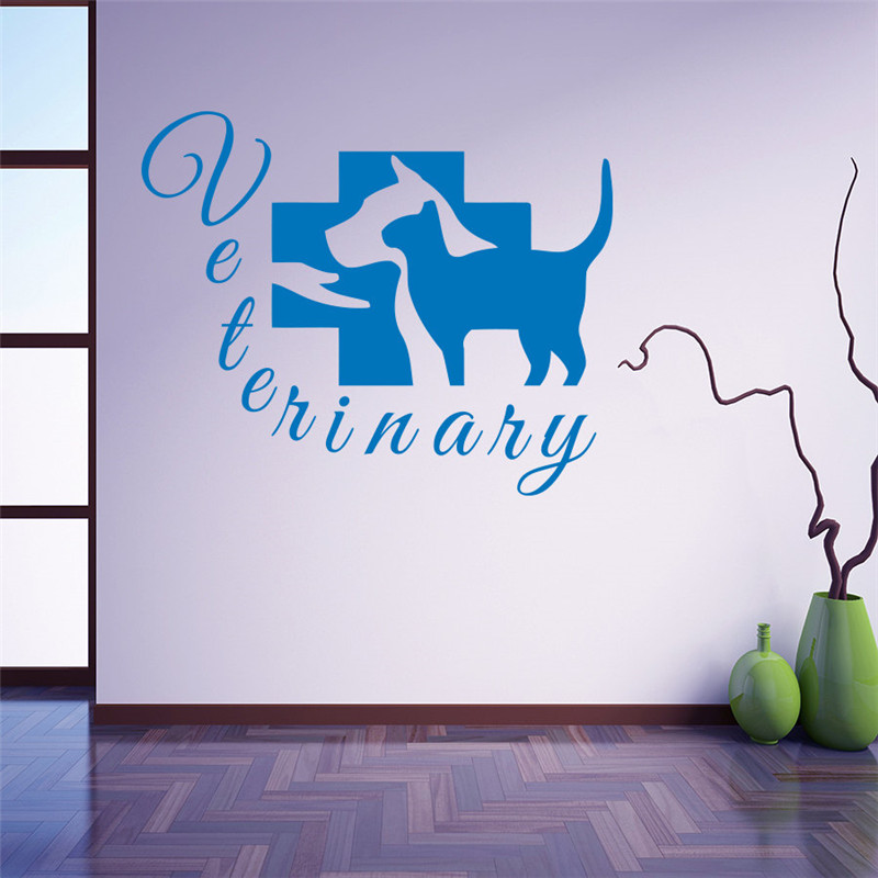Grooming Salon Wall Decal Pet Veterinary Services Vinyl Dog Cat Hospital Shop Removable Stickers Veterinary Clinic Design