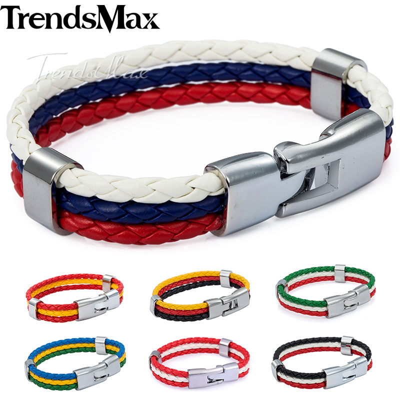Trendsmax Mens Leather Bracelet 3 Strands National Flag Rope Chain Bracciali in pelle per uomo 2018 Moda gioielli regali KLBW18