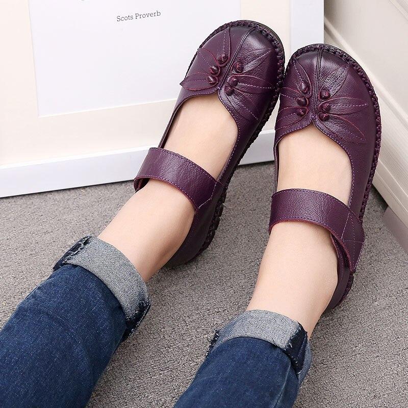 ФОТО 2017 Retro Shoe For Women Handmade Shoes Genuine Leather Soft Safe Flats Autumn Driving Shoes Women Flats 4 Colors