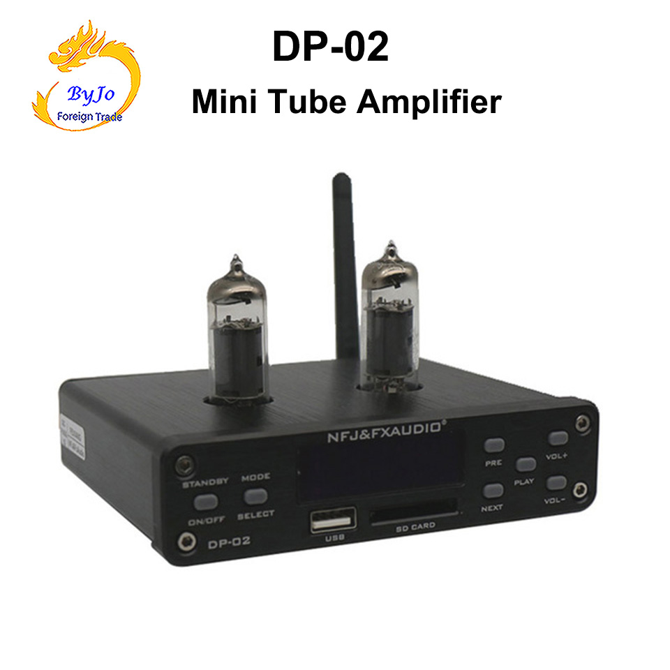 DP-02 Bluetooth 4.0 HiFi 6k4 Tube Amplifier Portable preamplifier Headphone Amplifier audio board U disk SD card input fx audio m 200e mini hifi audio high fidelity amplifier support u disk sd card lossless bluetooth 4 0 120w 2 220v