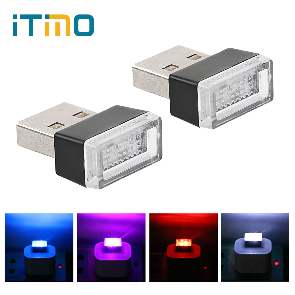 ITimo USB Decorative Lamp 4 Colors Car LED Atmosphere Lights PC  Emergency Light Novelty Lighting Room Party Decor Lamp