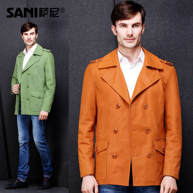 Trend akrasanee suit genuine leather male clothing overcoat sheepskin leather male clothing slim outerwear