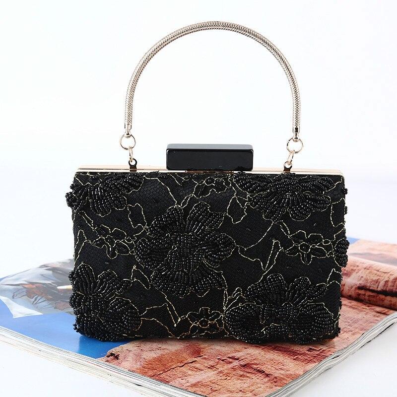 2018 Frauen Abend Taschen Mode Perlen Brieftasche Schwarz Clutch Bag Weibliche Hochzeit Kupplungen Geldbörsen Hohe Qualität 154-24 Dauerhafte Modellierung