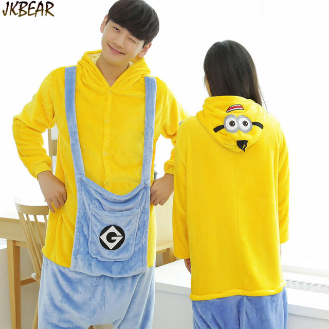 Cute Minions Onesies for Teenagers and Adults Flannel Funny Animal Costume  Couples Matching Onesie Pajamas Plus