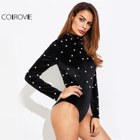 COLROVIE Pearl Beading Velvet Bodysuit Long Sleeve Women Back Zip Up Sexy Autumn Bodysuits 2017 New