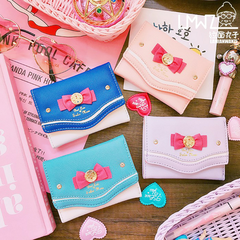 Korean Women Bowknot Leather Short Wallet Female Small Cute Purse Coin Purse Clutch Sailor Moon Organizer Wallet Purse Money Bag
