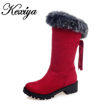 2016 Winter women short snow boots fashion suede Round Toe low heel shoes Big size 30-52 ladies Slip-On Mid-Calf Tassel boots