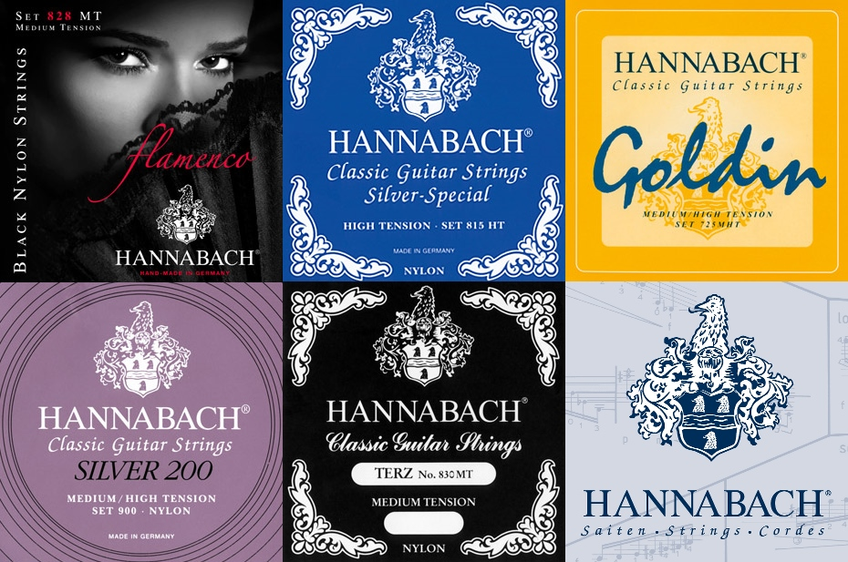 Hannabach Nylon Classical Guitar Strings, 600 & 800 Silver Plated, 728 Custom Made, 815 Silver Special, 825 Pure Gold, 850 PSP