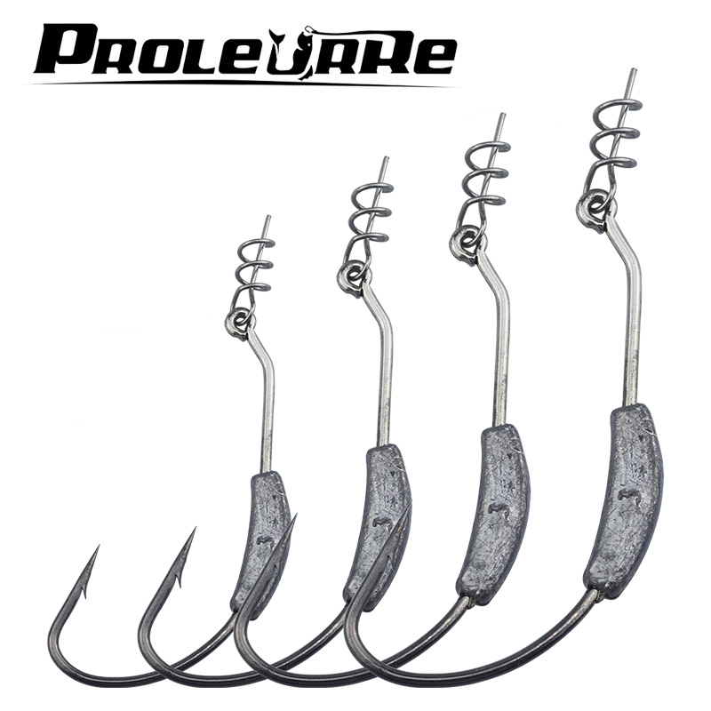 Proleurre 5PCS Sharp Back Weighted Worm Hook with Coil Keeper 2g 2.5g 3g 5.25g 7g Butt Weight Hook fr Bass Fishing pro-465
