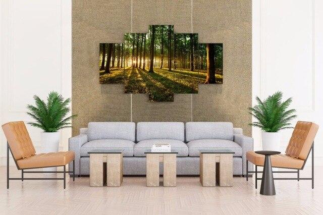 Morgendämmerung Wald Natur Leinwand 5 Stücke Malerei Wand Kunst Wohnkultur  Panels Natur Gefühl Für Bett