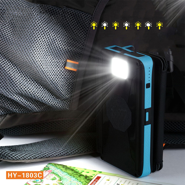 20000mAh LED Solar Power Bank Folding Foldable Portable Solar Panel Solar Charger External Battery Solar Powerbank For Phone 2