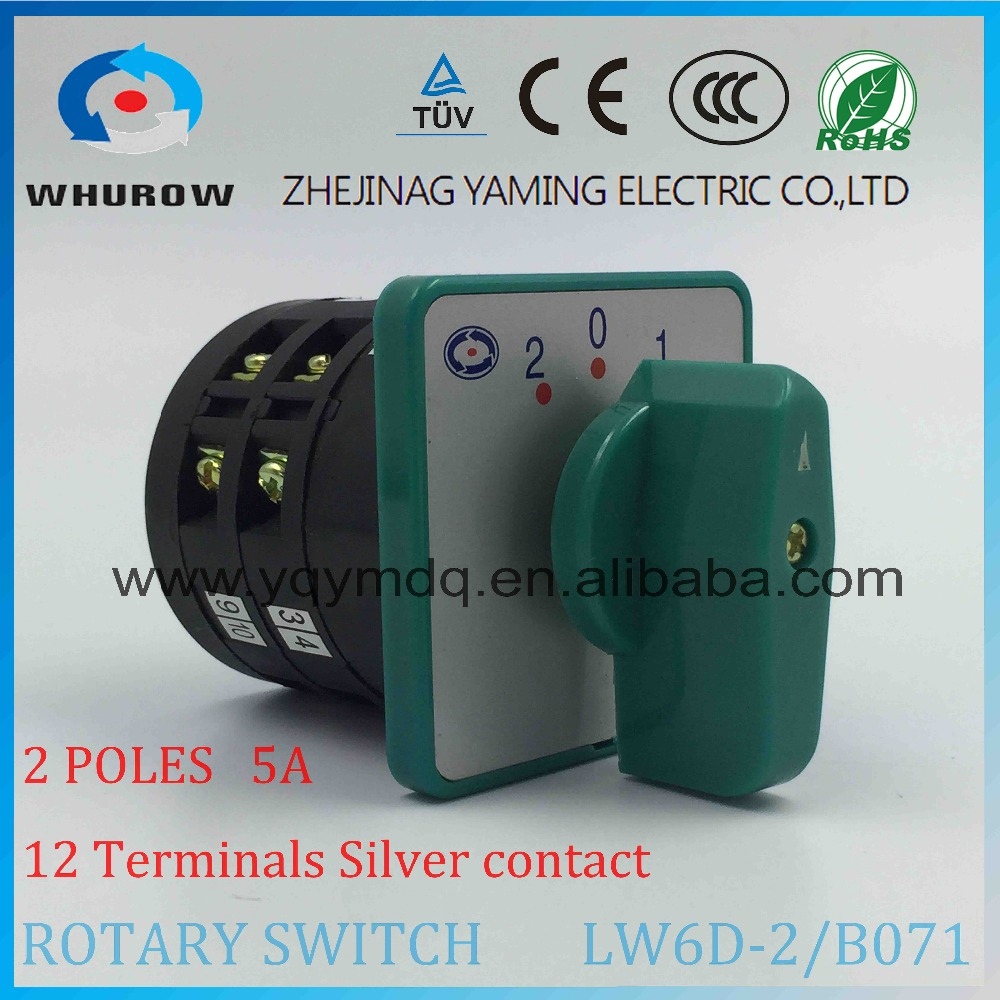 Rotary switch 3 positions LW6-2/B071 green changeover cam universal switch 380V 5A 2 pole 12 terminals sliver contacts lw8 10d222 3 rotary handle universal cam changeover switch ui 500v ith 10a