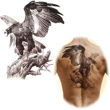 24 X 34 Cm Domineering Large Temporary Tattoo Stickers Waterproof Black Big Eagle Tattoo Totem For Arm Back Body Art