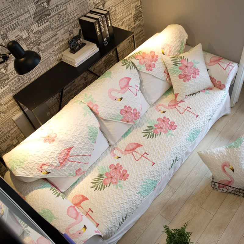 Katoen Sofa Cover Sofa Handdoek Flamingo Patroon Moderne Eenvoudige Sofa Hoes Zetel Antislip Sofa Covers Voor Woonkamer