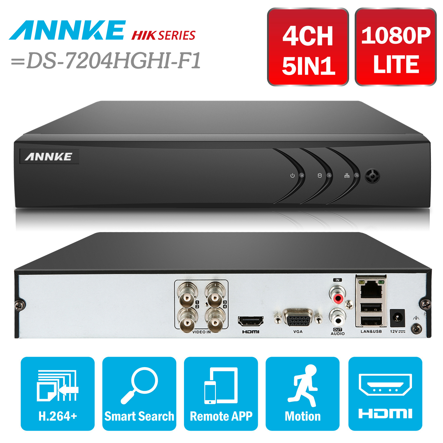 ANNKE 4CH 1080N 5in1 TVI CVI AHD Network DVR HDMI H.264+ DVR Video Recorder for Home Security Camera System =HIK DS-7204HGHI-F1 robotdigg bulldog extruder