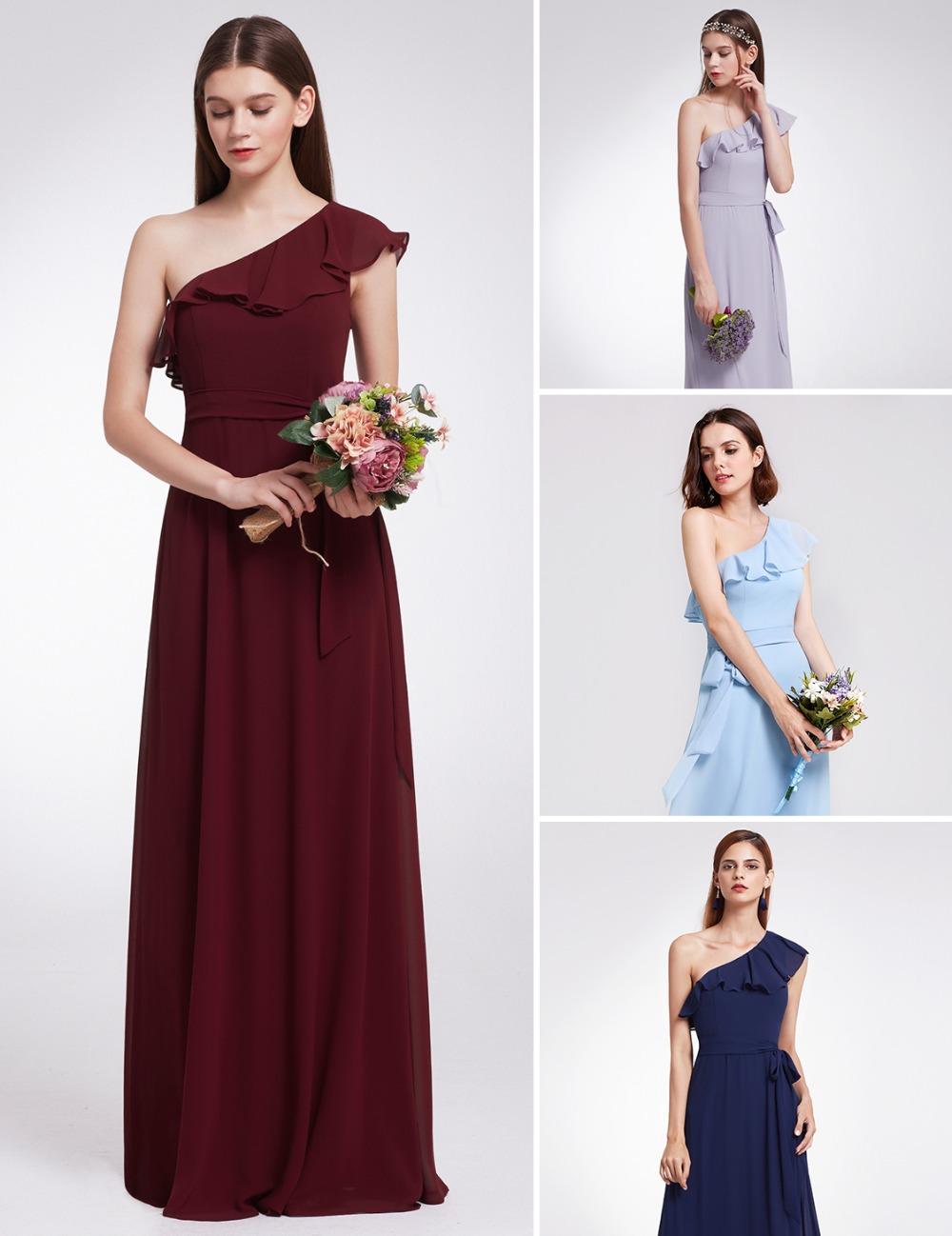 2018 Chiffon Bridesmaid dresses Long One Shoulder Ever Pretty Brand - Suknelės vestuvėms
