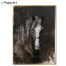 Handmade Modern Abstract Horse Portrait Painting Black Background Pure Hand-painted Unique Gift Equire Oil on Canvas