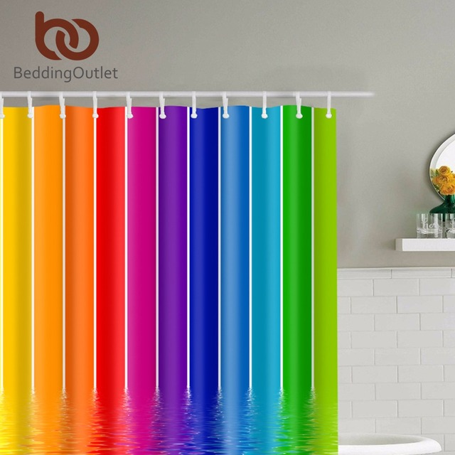 "BeddingOutlet Rainbow Stripes Design Bathroom Shower Curtain Waterproof Midewproof Polyester Bathroom Set with Hooks  71"" x 71"""