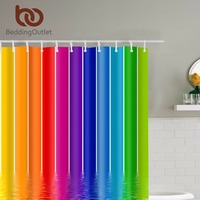 BeddingOutlet Rainbow Stripes Design Bathroom Shower Curtain Waterproof Midewproof Polyester Bathroom Set With Hooks 71 X