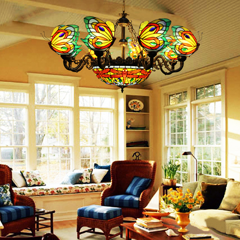 FUMAT Stained Glass Chandelier Butterfly Suspension Hanglamp Lighting Fixtures 8 Heads Dragonfly Lamp Retro Art ChandelierFUMAT Stained Glass Chandelier Butterfly Suspension Hanglamp Lighting Fixtures 8 Heads Dragonfly Lamp Retro Art Chandelier