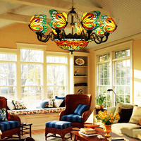 FUMAT Stained Glass Chandelier Butterfly Suspension Hanglamp Lighting Fixtures 8 Heads Dragonfly Lamp Retro Art Chandelier