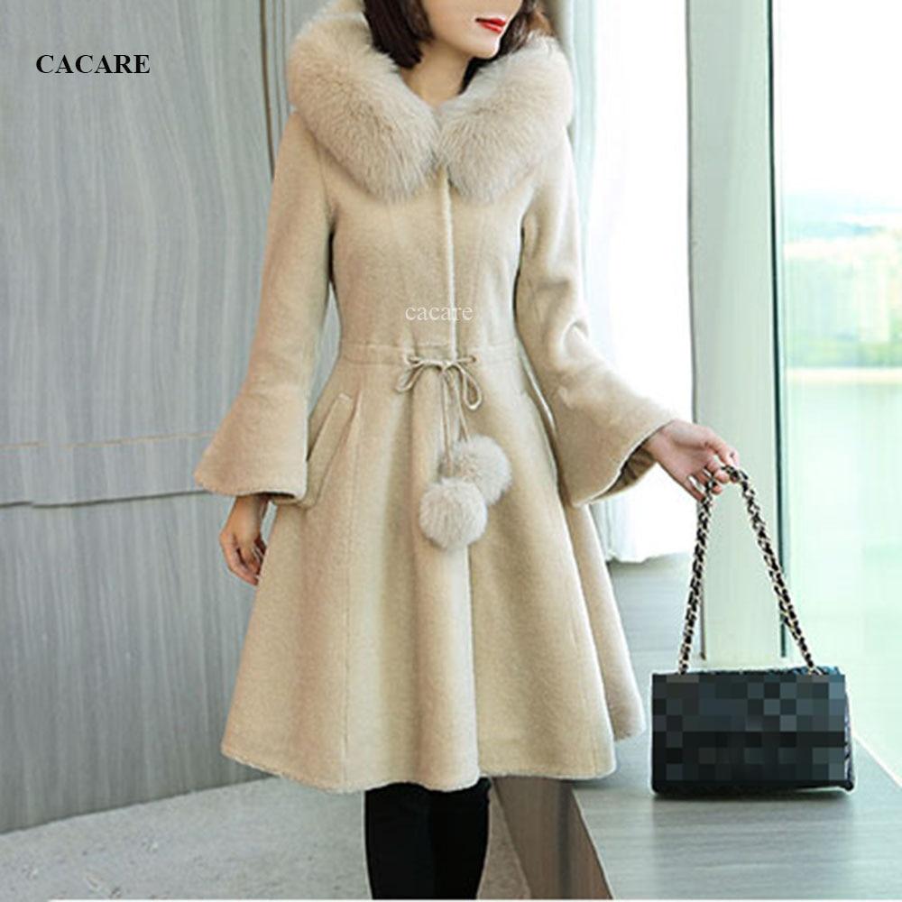 Daim tissu laine hiver femme manteaux 2018 cachemire manteau renard fourrure col à capuche F0190 simple boutonnage cloche manches robe Style
